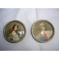 Miniatura Par Cuadros Oleo Europeos Coleccion (01207x)
