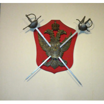 Antiguo Escudo Armadura Con Espadas Decorativo