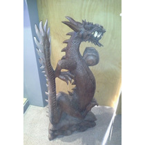 Dragon Tallado En Madera De Un Solo Tronco 80 Cms