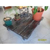 Deck Con Ruedas Porta Macetas, Madera Dura