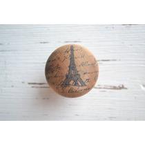 Tirador Manija Mueble Cajón Madera Redondo Torre Eiffel