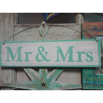 Cartel Vintage Madera Reciclada Stencil Mr & Mrs