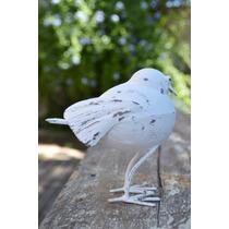 Gorrión Pájaro Adorno Jardin Chapa De Hierro Patina Blanco