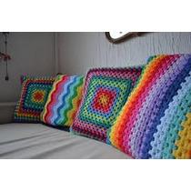 Manta Almohadon Tejido Crochet Arco Iris Orgullo Gay
