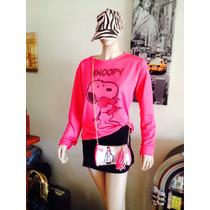 Buzo De Fibra Color Rosa Fucsia Talle G Snoopy, Envíos!!