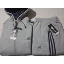 Conjunto Adidas Campera Con Capucha Mas Pantalon - 100% Alg.