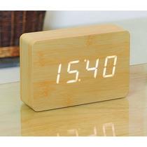Reloj Led Despertador Rectangulo Madera Bambu Aplauso On