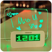 Reloj Despertador Digital Pizarra Magica Led Con Lapiz Tempe