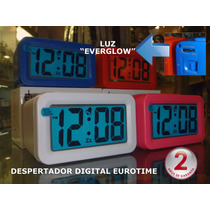 Despertador Digital Eurotime Display Xl-luz Glow Azul-centro
