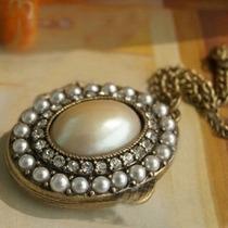 Dije Relicario Perlas Cristales Simulad Para 2 Fotos Antiqué