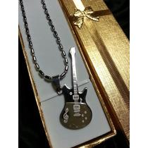 Guitarra Dije +cadena +caja Acero Quirurgico 316l