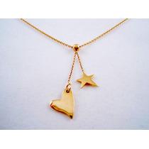 Dije Con Cadena De Oro Amarillo Corazon Y Estrella