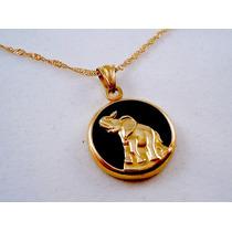 Dije Con Cadena Elefante De Oro Amarillo Sobre Onix