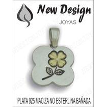 Dije Colgante Forma De Trebol De Plata 925 Con Flor En Oro