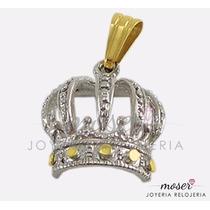 Dije Corona Calada Plata 925 Y Oro 18 Kts. Hermosa Dv534
