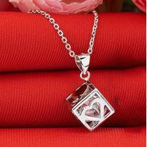 Dije Cubo Cristal Plata 925 Importado!piedra Cristal 6 Caras