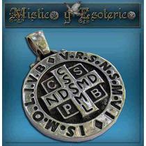 Impresionante Medallon San Benito 4 Cm 30 Gr Plata