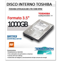 Disco Duro Interno Pc Sata3 De 1tb 7200 Rpm Toshiba