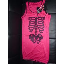 Halloween Disfraz De Adulto Esqueleto Fluo Talle Unico