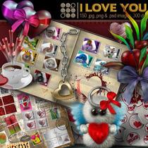 Kit Imprimible I Love You Scrap+elementos+ Fondo Recortado