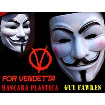 Mascara V De Vendetta Plastica, Disfraz Anonymous Venganza,