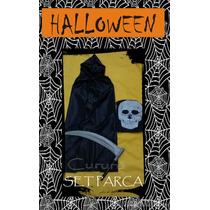 Set Disfraz Halloween Parca Muerte Capa C/capucha Guadaña