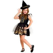 Halloween Disfraz Para Nenas Brujita Calaveras Con Sombrero