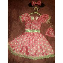 Disfraz Minnie Rosa Con Accesorios T 6. Artesanal