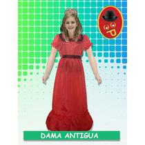 Disfraz Dama Antigua De Tafeta Manga Corta.