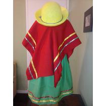 Disfraz De Coya Para Niña Poncho Pollera Sombrero