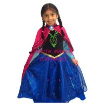 Disfraz Frozen Princesa Anna Disney - Vestido Con Capa