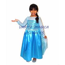 Disfraz Frozen Princesa Elsa Disney Vestido Con Capa