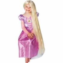 Peluca Rapunzel 80cm De Largo Brilla En La Oscuridad Disney