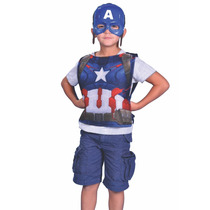 Disfraz Mascara Y Pechera Capitan America Avengers New Toys