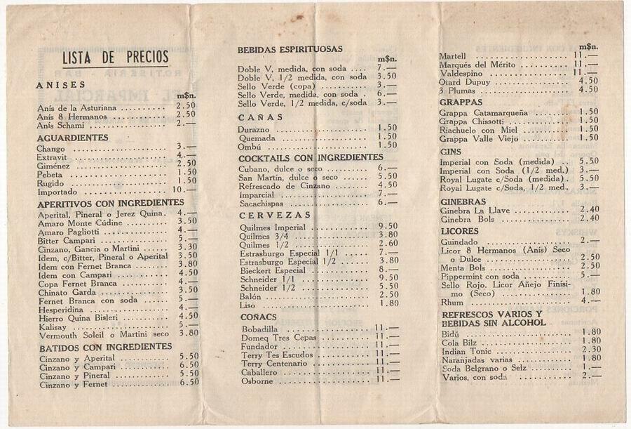 lista precio bares: