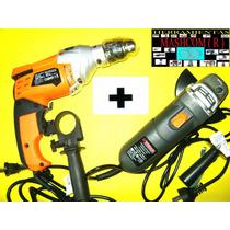 Taladro 13 Mm + Amoladora 115 Mm De 600 Watts