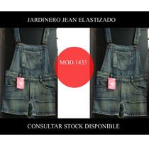 Jardinero Enterito Jean Corto Mujer Talles 36 / 38