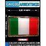 Bandera Italia Cromada, Encapsulada, Resinada Con Relieve