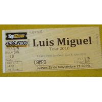 Entrada Usada Recital Luis Miguel Tour 2010 Argentina