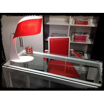 Escritorio Diseño Moderno 1.10 X 45cm Vidrio Y Metal