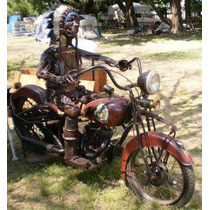 Bella Escultura Indio Manejando Moto Indian Pedro Robledo