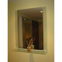 Espejo + Estante O Repisa De Vidrio Para Colgar Ideal Baños