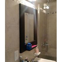 Espejo Para Baño Único Sistema Anti Humedad 80x60 Y Estante