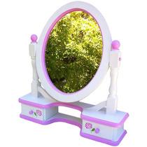 Espejo Oval Movil Con Cajones Hidro Laqueado Y Decorado