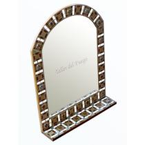 Espejo Capilla C/estante Venecitas Gemas Y Espe 45 X 60 Cm