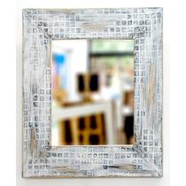 Espejo Con Marco Vintage Símil Venecitas 45x51