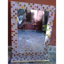 Espejo Venecitas 50x70 Con Estante. Diseño Y Decoracion Baño