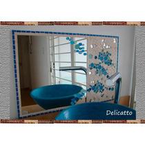 Espejo Artesanal En Cerámico Y Venecitas