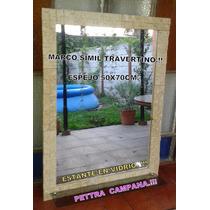 Espejo Travertino Con Estante, Rustico Y Artesanal. !!!!