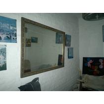 Espejo Antiguo, Con Marco De Madera, Pintado En Bronce